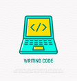 writing code thin line icon vector image