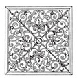 wrought-iron square panel was designed in 1713 in vector image vector image