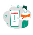 young man donating money online flat vector image vector image