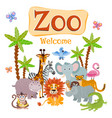 zoo with wild cartoon safari vector image vector image