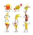 Fast Food Cartoon Characters Set vector image