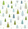 various christmas trees seamless pattern for gifts vector image