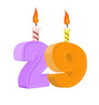 29 years birthday number with festive candle for vector image
