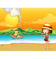 A boy in a wooden boat and a girl at the seashore vector image vector image