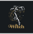 a witch woman with raven vector image vector image