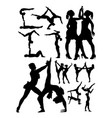 aerobics and dance silhouettes vector image vector image