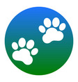 animal tracks sign white icon in bluish vector image vector image