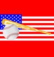 baseball and bat flag vector image vector image