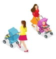 Beautiful mother on walking with baby in stroller vector image vector image