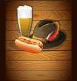 beer glass hot dog and oktoberfest hat vector image