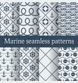 Blue marine seamless patterns set vector image vector image