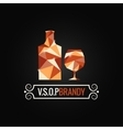 brandy glass poly design background vector image vector image