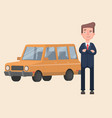 businessman admires his new car vector image