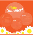 calendar for three months for the summer season vector image vector image