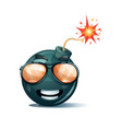 cartoon bomb fuse wick spark icon sun glasses vector image