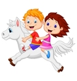 Cartoon Boy and girl riding a pony horse vector image vector image