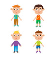 cartoon boys isolated on white characters set of vector image