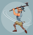 cartoon man in a gladiator suit swings an ax vector image
