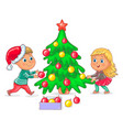 children decorate the christmas tree vector image vector image