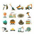 coal mining equipment flat icons set vector image