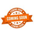 coming soon ribbon coming soon round orange sign vector image vector image