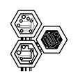 computer circuit hexagon electronic component vector image vector image
