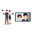 coworkers taking selfie flat vector image