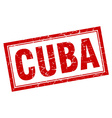 Cuba red square grunge stamp on white vector image vector image