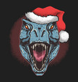 dinosaur t-rex with santa claus christmas hat vector image