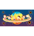 Diverse kids in space vector image vector image