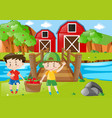 farm scene with two boys and basket of apples vector image vector image
