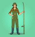 fisherman girl pop art vector image vector image