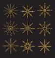 geometric golden snowflakes on black background vector image vector image