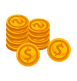 golden coins piles with dollar sign isolated vector image vector image
