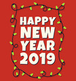 happy 2019 new year card with garland vector image vector image