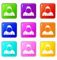 hood icons 9 set vector image