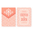 invitation cards or wedding card with damask vector image vector image