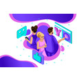 isometric concept people in social network vector image