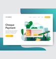 landing page template cheque payment concept vector image vector image