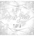 luxury silver glitter happy new year 2019 vector image vector image