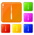 medical scalpel icons set color vector image vector image