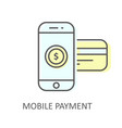 mobile payment with inserted credit card - online vector image vector image