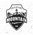 mountains and forest black badge on white vector image vector image