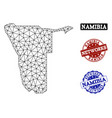polygonal network mesh map of namibia and vector image vector image