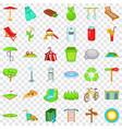public park icons set cartoon style vector image vector image