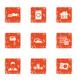 residential building maintenance icons set grunge vector image