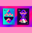 retro futuristic poster design with gradient art vector image