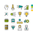 set linear seo colored icons vector image vector image