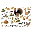 Set of doodle elements for Thanksgiving Day vector image vector image