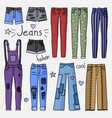 set of hand drawn women clothes jeans vector image vector image